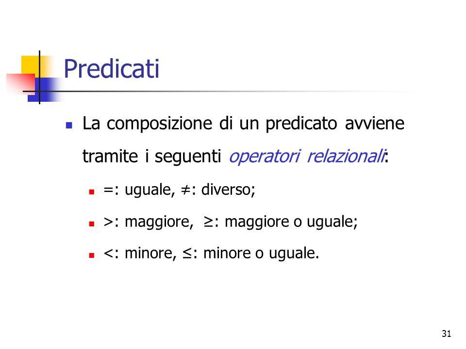 31 Predicati La composizione di un predicato avviene tramite i seguenti operatori relazionali: =: uguale, : diverso; >: maggiore, : maggiore o uguale;