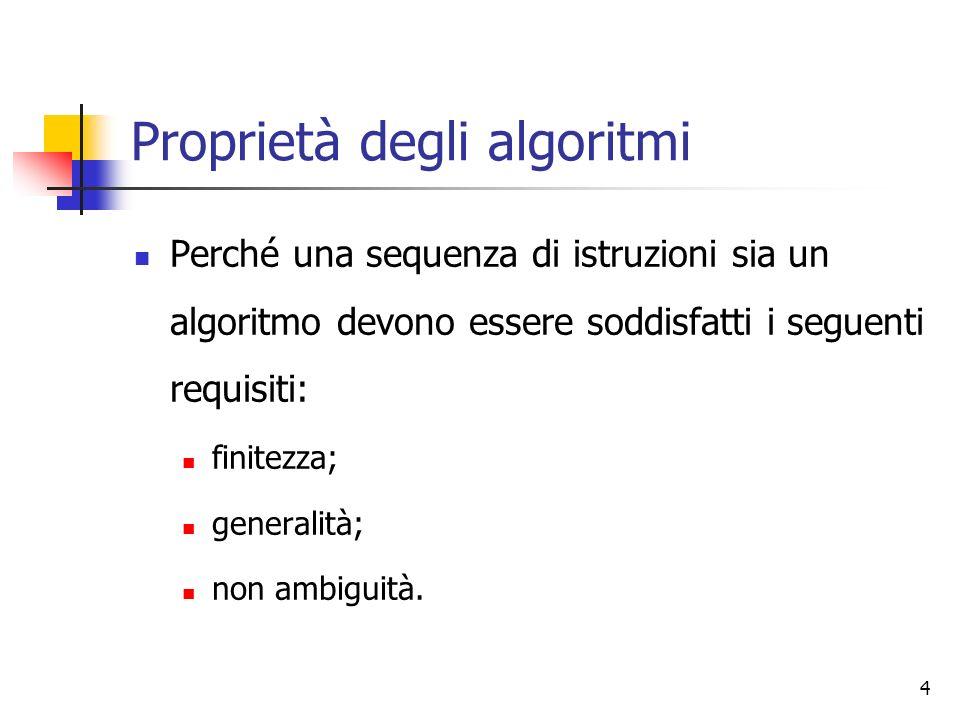 4 Proprietà degli algoritmi Perché una sequenza di istruzioni sia un algoritmo devono essere soddisfatti i seguenti requisiti: finitezza; generalità; non ambiguità.