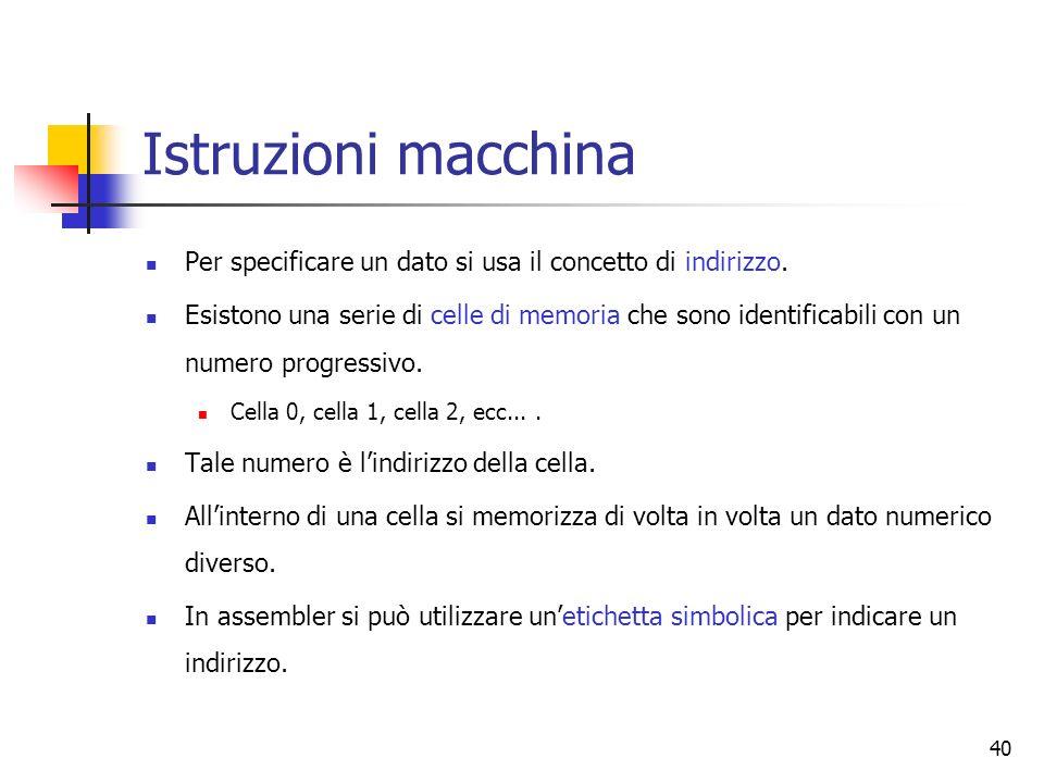 40 Istruzioni macchina Per specificare un dato si usa il concetto di indirizzo. Esistono una serie di celle di memoria che sono identificabili con un