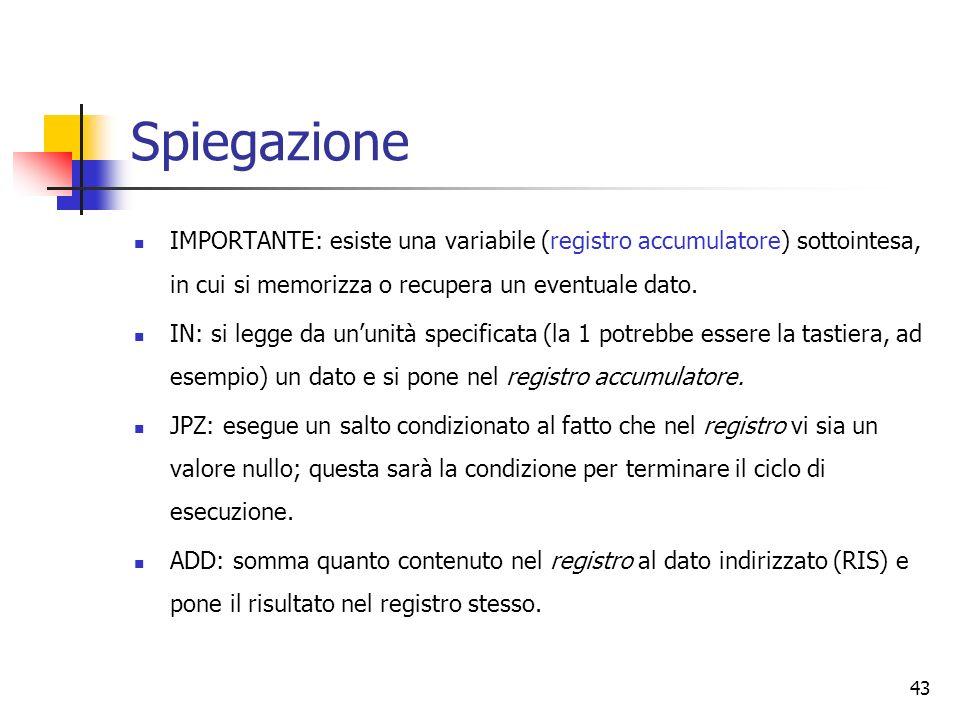 43 Spiegazione IMPORTANTE: esiste una variabile (registro accumulatore) sottointesa, in cui si memorizza o recupera un eventuale dato. IN: si legge da