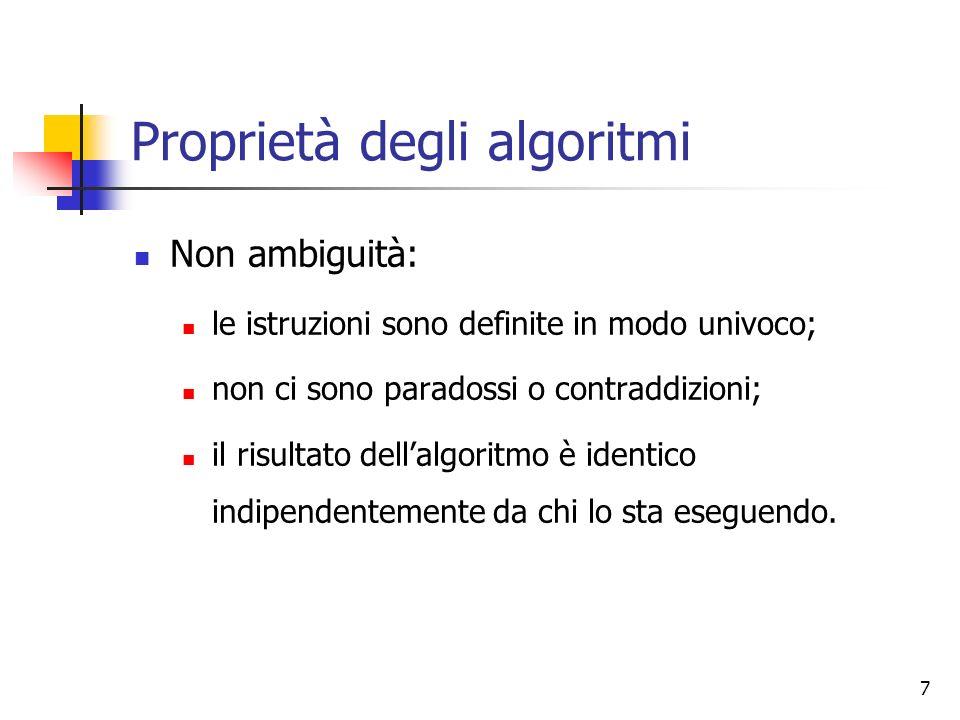 7 Proprietà degli algoritmi Non ambiguità: le istruzioni sono definite in modo univoco; non ci sono paradossi o contraddizioni; il risultato dellalgoritmo è identico indipendentemente da chi lo sta eseguendo.
