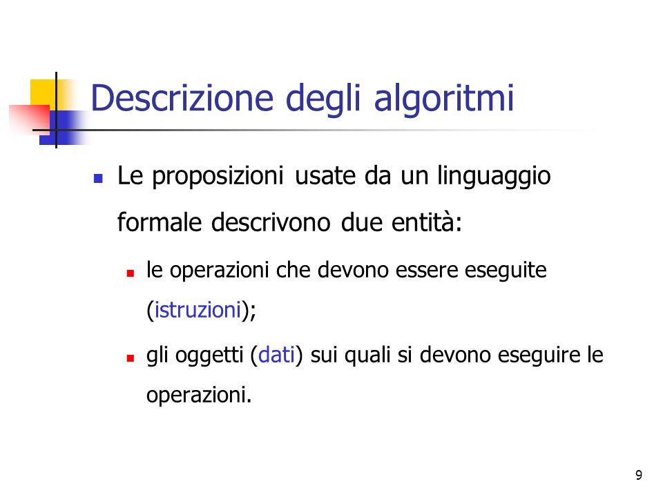 9 Descrizione degli algoritmi Le proposizioni usate da un linguaggio formale descrivono due entità: le operazioni che devono essere eseguite (istruzio