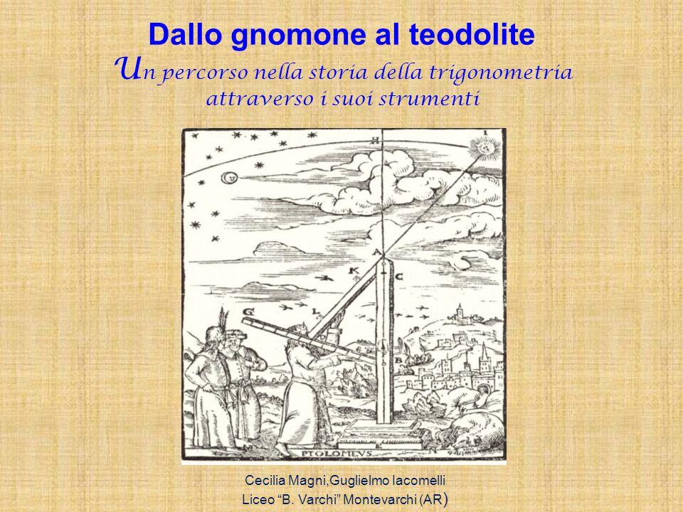 Dallo gnomone al teodolite U n percorso nella storia della trigonometria attraverso i suoi strumenti Cecilia Magni,Guglielmo Iacomelli Liceo B. Varchi
