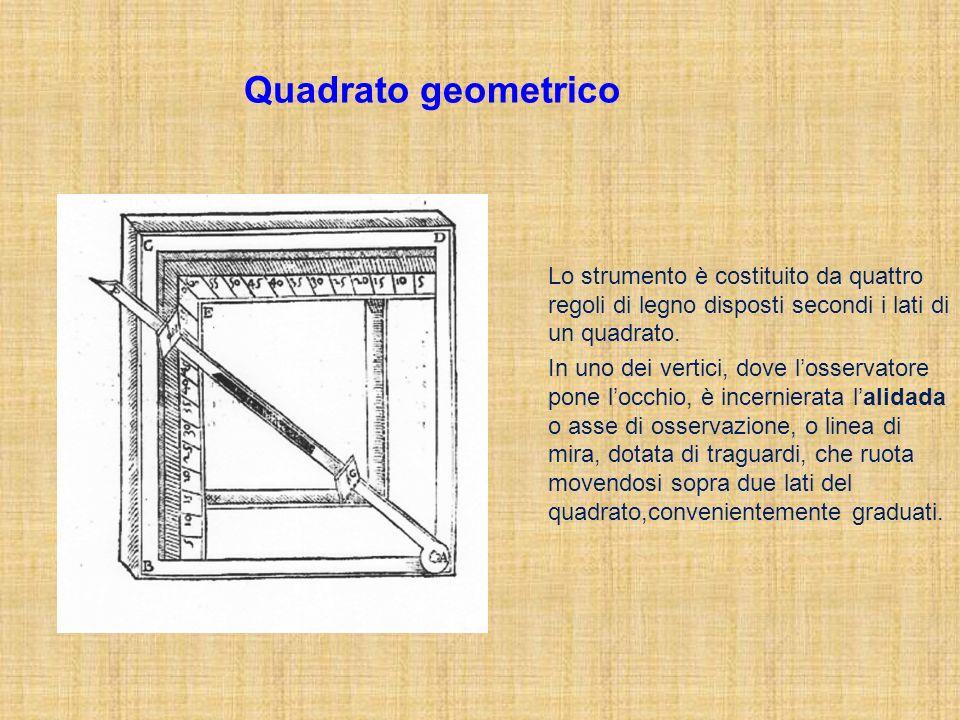 Lo strumento è costituito da quattro regoli di legno disposti secondi i lati di un quadrato. In uno dei vertici, dove losservatore pone locchio, è inc