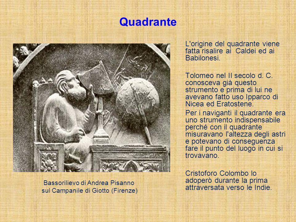 Quadrante L'origine del quadrante viene fatta risalire ai Caldei ed ai Babilonesi. Tolomeo nel II secolo d. C. conosceva già questo strumento e prima