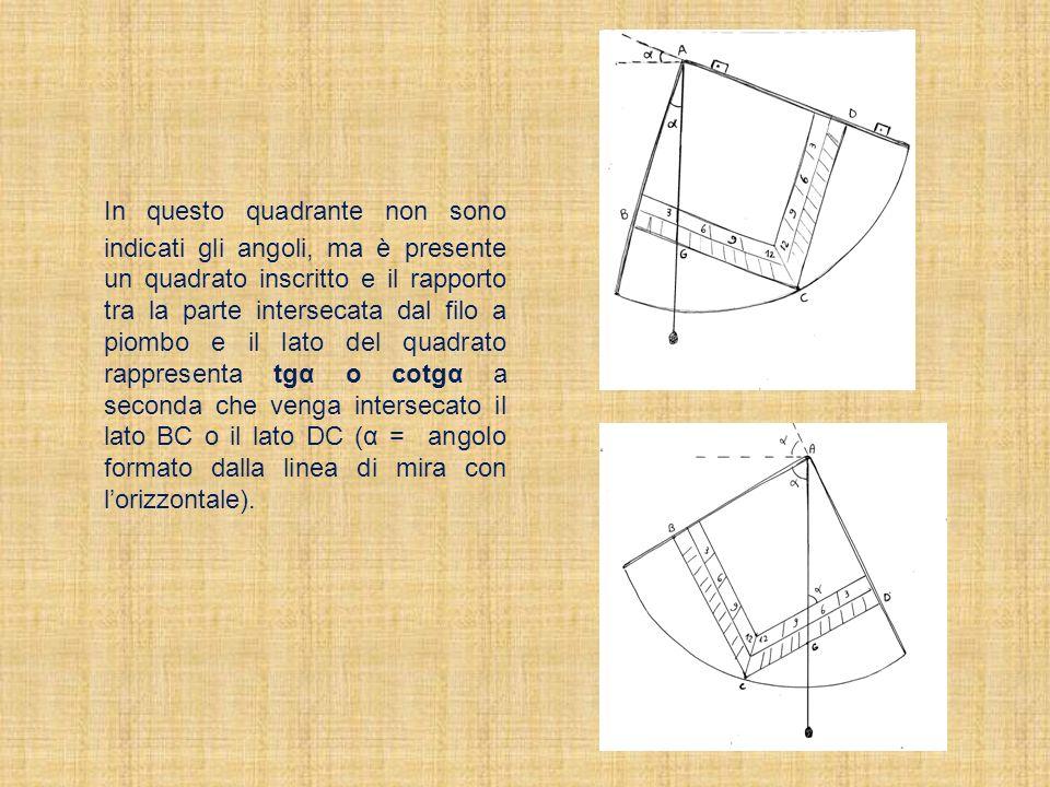 In questo quadrante non sono indicati gli angoli, ma è presente un quadrato inscritto e il rapporto tra la parte intersecata dal filo a piombo e il la