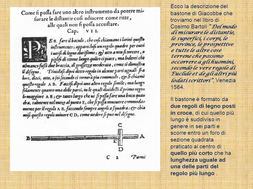Ecco la descrizione del bastone di Giacobbe che troviamo nel libro di Cosimo BartoliDel modo di misurare le distantie, le superfici, i corpi, le provi