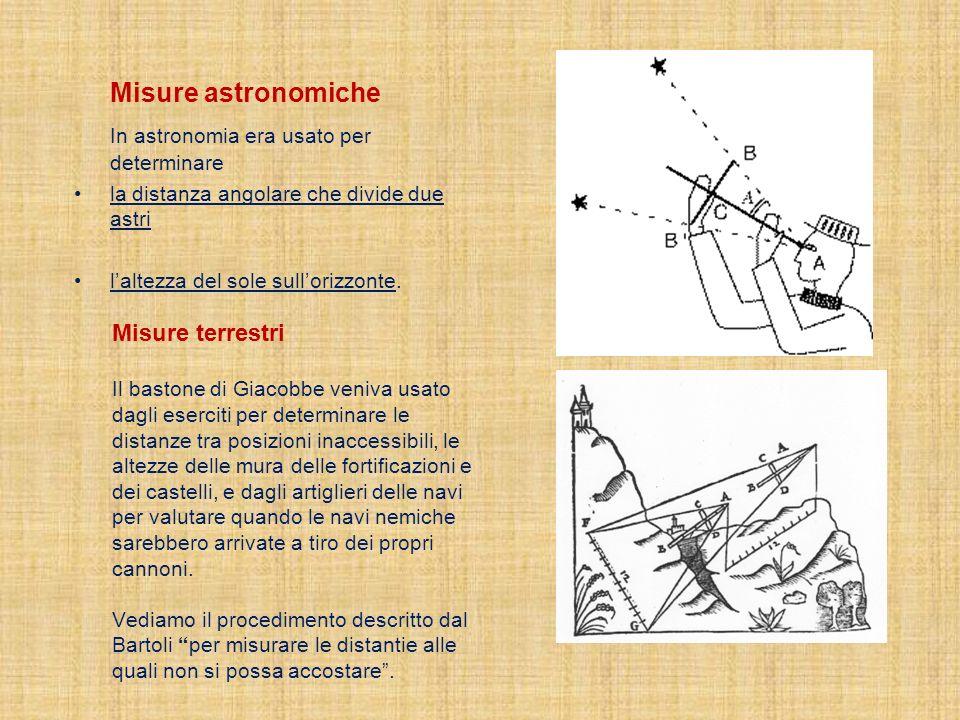Misure astronomiche In astronomia era usato per determinare la distanza angolare che divide due astri laltezza del sole sullorizzonte. Misure terrestr