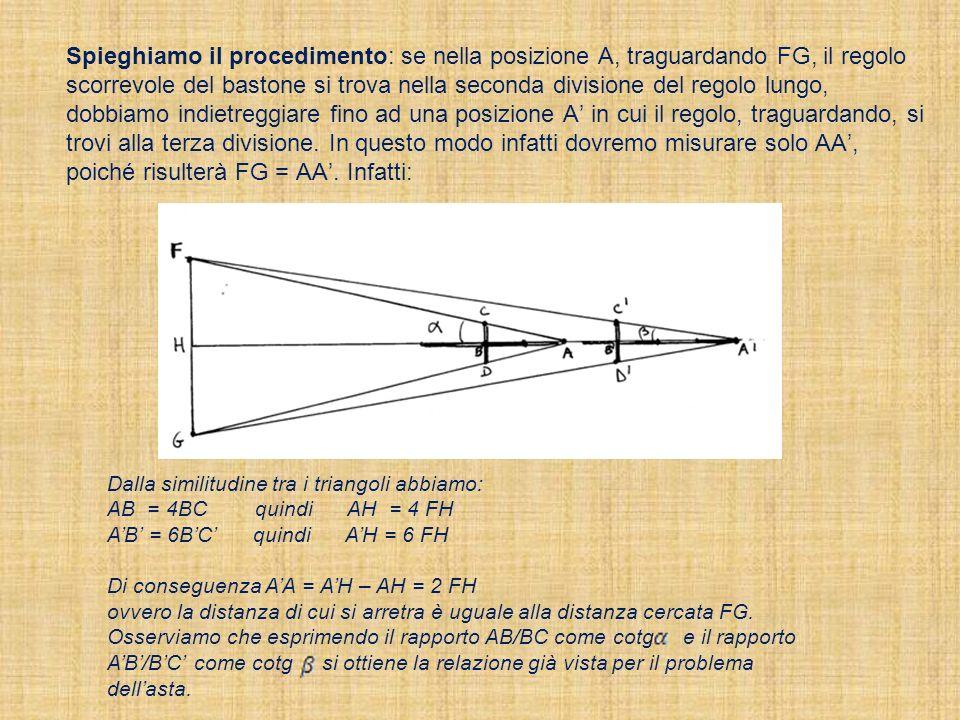 Spieghiamo il procedimento: se nella posizione A, traguardando FG, il regolo scorrevole del bastone si trova nella seconda divisione del regolo lungo,