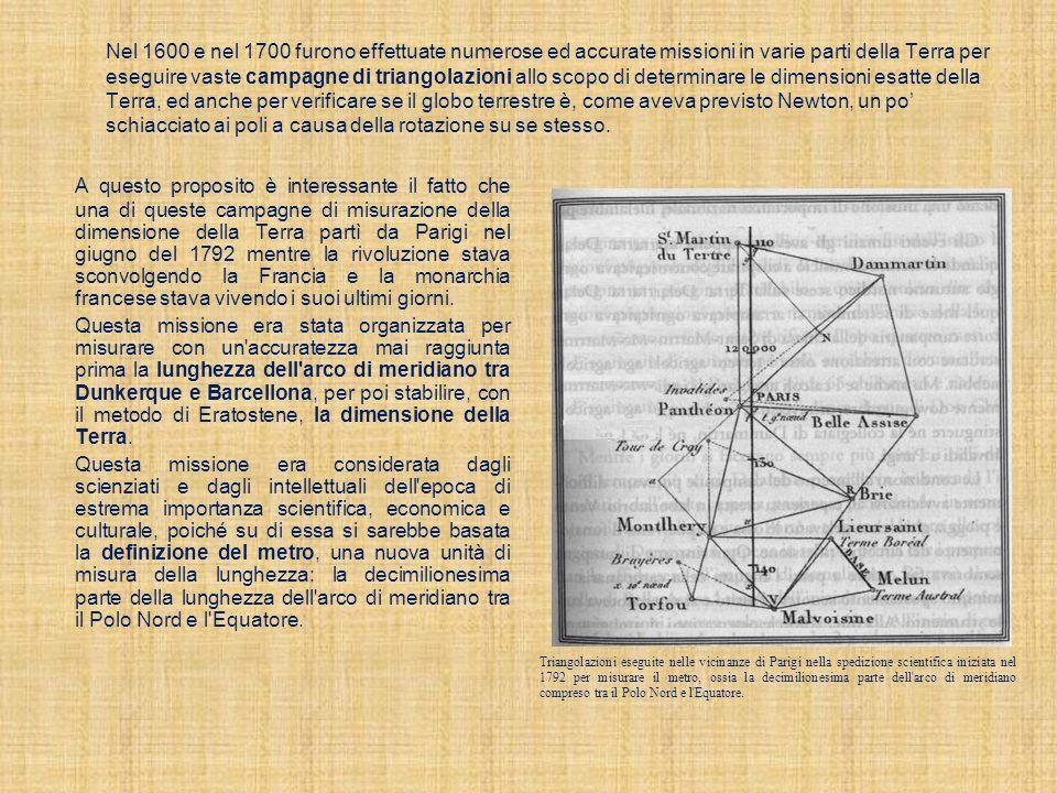 Nel 1600 e nel 1700 furono effettuate numerose ed accurate missioni in varie parti della Terra per eseguire vaste campagne di triangolazioni allo scop
