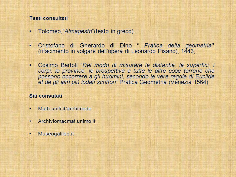 Testi consultati Tolomeo,Almagesto(testo in greco). Cristofano di Gherardo di Dino Pratica della geometria (rifacimento in volgare dellopera di Leonar