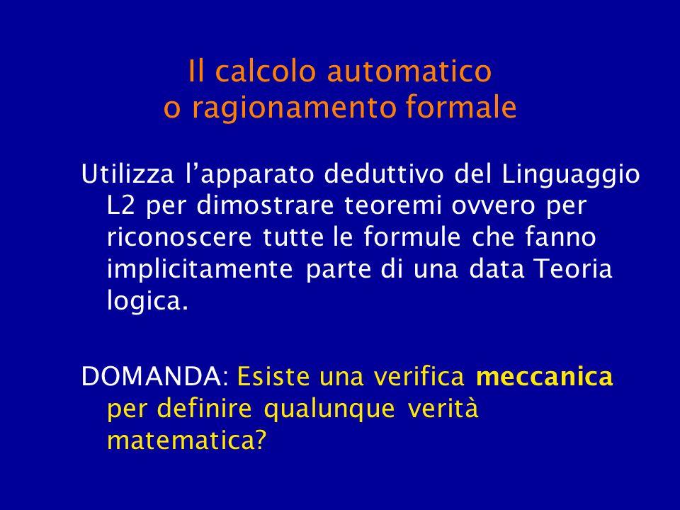 Il calcolo automatico o ragionamento formale Utilizza lapparato deduttivo del Linguaggio L2 per dimostrare teoremi ovvero per riconoscere tutte le for