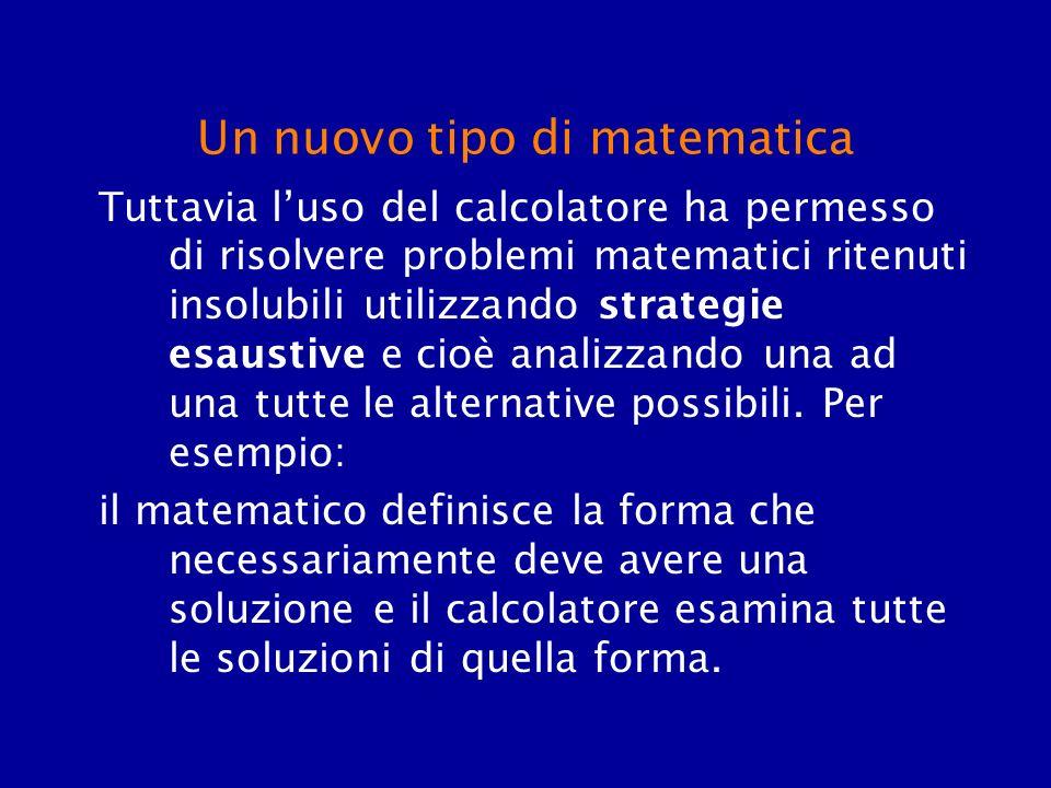 Un nuovo tipo di matematica Tuttavia luso del calcolatore ha permesso di risolvere problemi matematici ritenuti insolubili utilizzando strategie esaus