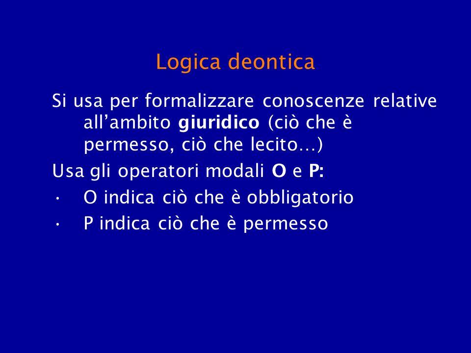 Logica deontica Si usa per formalizzare conoscenze relative allambito giuridico (ciò che è permesso, ciò che lecito…) Usa gli operatori modali O e P: