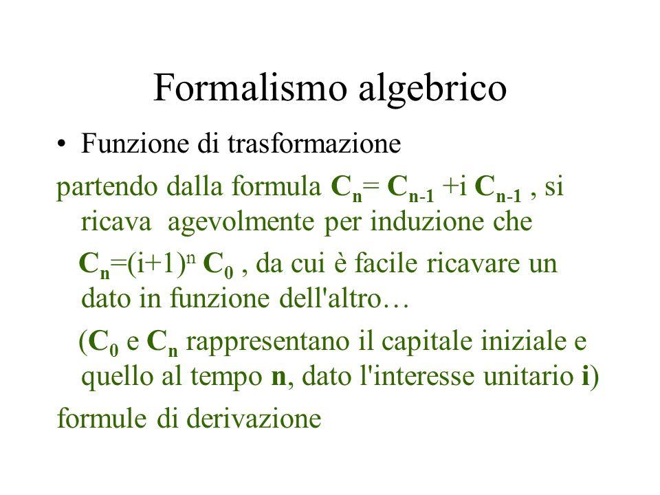 Formalismo algebrico Funzione di trasformazione partendo dalla formula C n = C n-1 +i C n-1, si ricava agevolmente per induzione che C n =(i+1) n C 0,