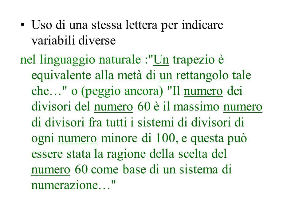 Uso di una stessa lettera per indicare variabili diverse nel linguaggio naturale :