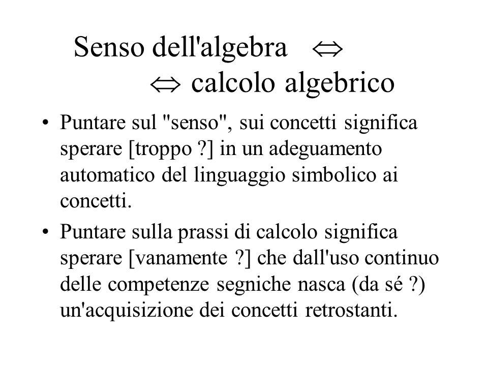 Senso dell'algebra calcolo algebrico Puntare sul