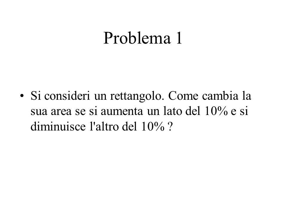 Problema 1 Si consideri un rettangolo. Come cambia la sua area se si aumenta un lato del 10% e si diminuisce l'altro del 10% ?
