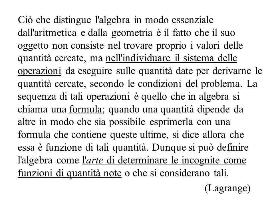 Ciò che distingue l'algebra in modo essenziale dall'aritmetica e dalla geometria è il fatto che il suo oggetto non consiste nel trovare proprio i valo