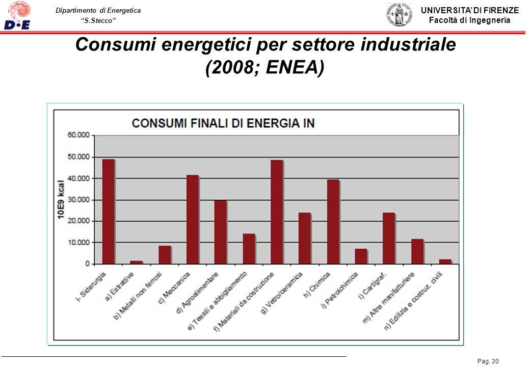 UNIVERSITA DI FIRENZE Facoltà di Ingegneria Pag. 30 Dipartimento di Energetica S.Stecco Consumi energetici per settore industriale (2008; ENEA)