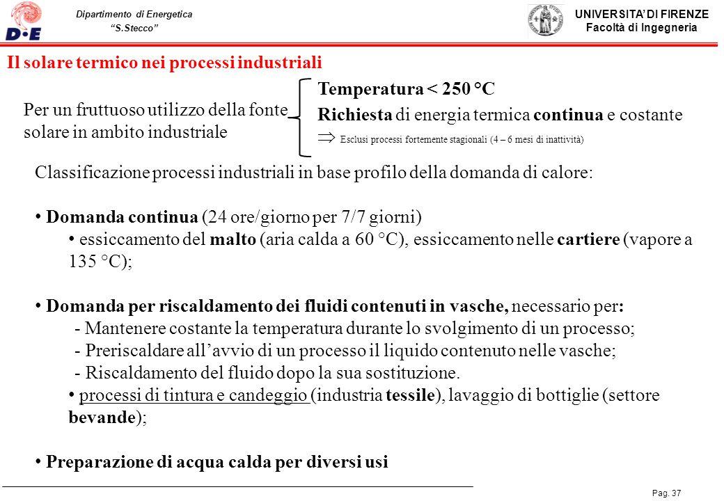 UNIVERSITA DI FIRENZE Facoltà di Ingegneria Pag. 37 Dipartimento di Energetica S.Stecco EFFICIENZA ENERGETICA ED ENERGIE RINNOVABILI: aspetti di natur