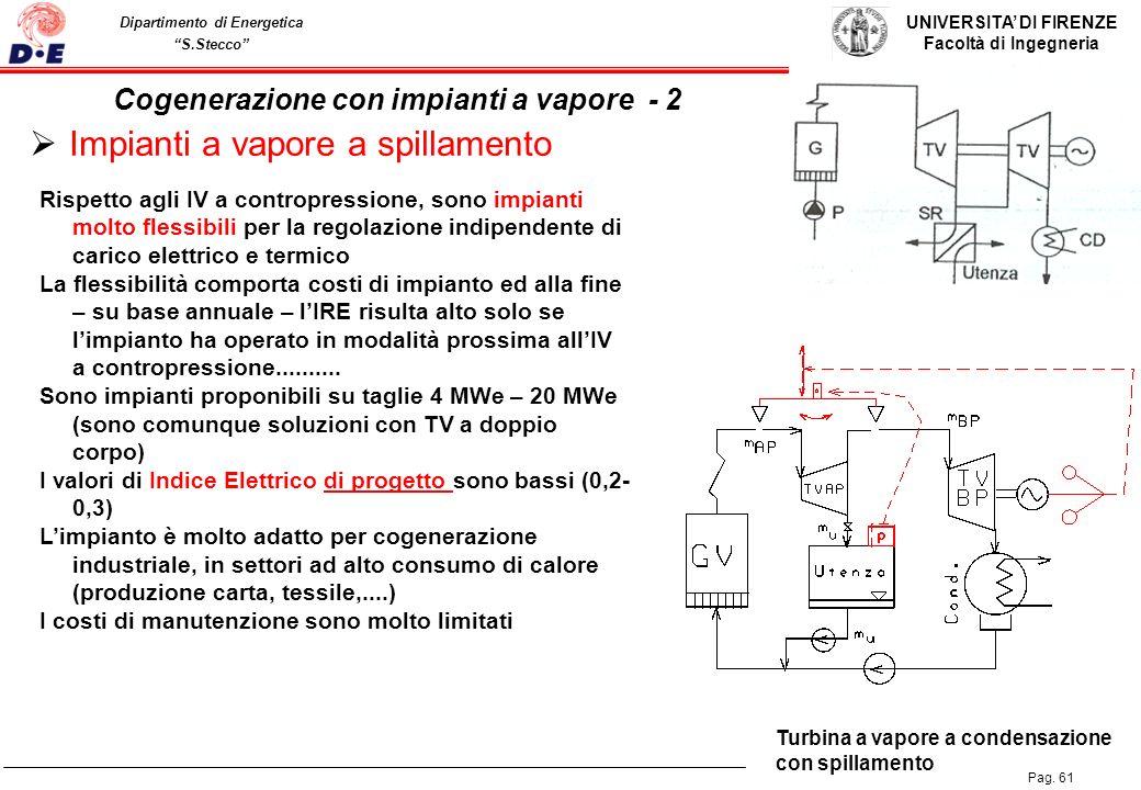 UNIVERSITA DI FIRENZE Facoltà di Ingegneria Pag. 61 Dipartimento di Energetica S.Stecco Impianti a vapore a spillamento Turbina a vapore a condensazio