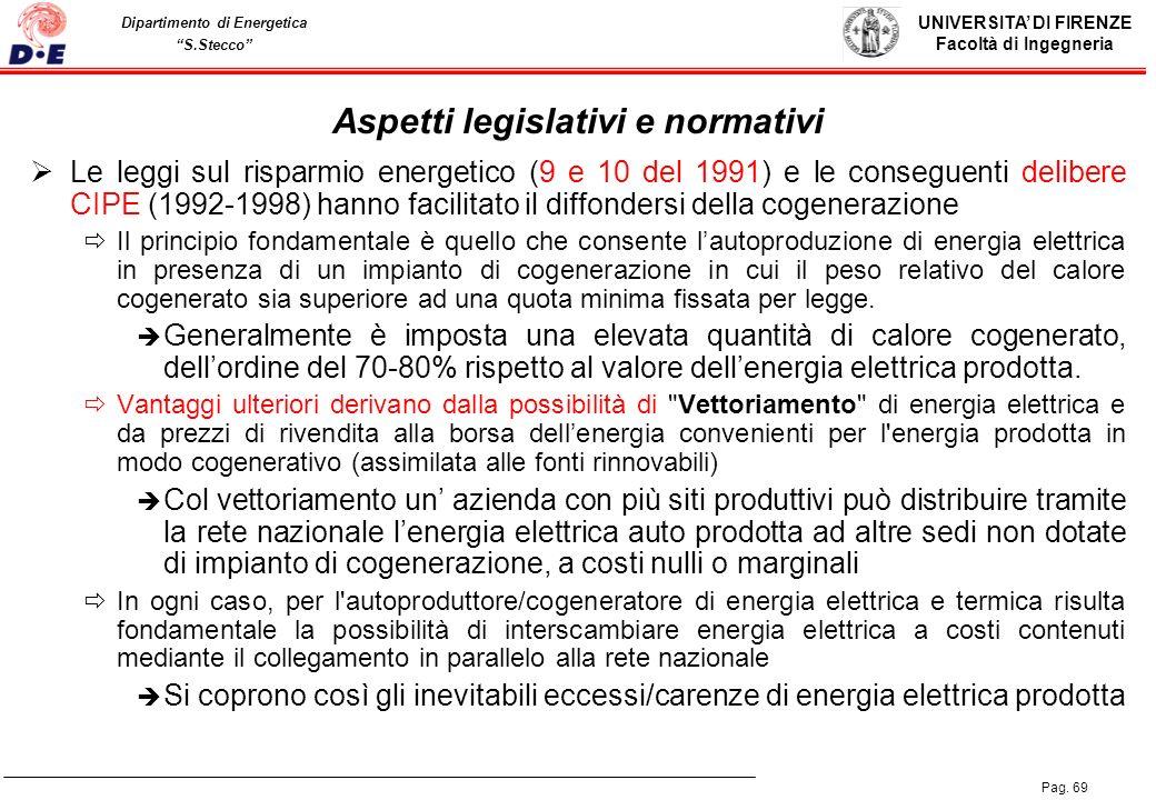 UNIVERSITA DI FIRENZE Facoltà di Ingegneria Pag. 69 Dipartimento di Energetica S.Stecco Aspetti legislativi e normativi Le leggi sul risparmio energet