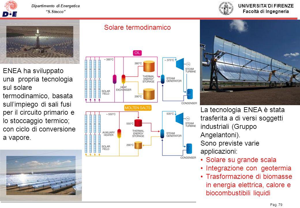 UNIVERSITA DI FIRENZE Facoltà di Ingegneria Pag. 79 Dipartimento di Energetica S.Stecco Solare termodinamico ENEA ha sviluppato una propria tecnologia