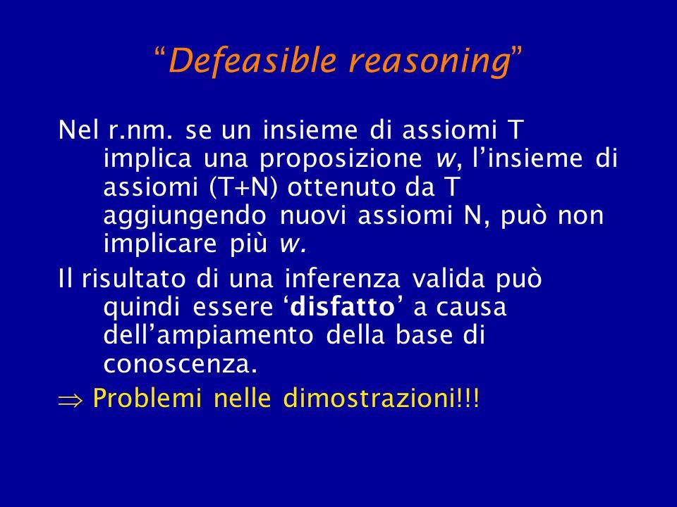 Defeasible reasoning Nel r.nm. se un insieme di assiomi T implica una proposizione w, linsieme di assiomi (T+N) ottenuto da T aggiungendo nuovi assiom
