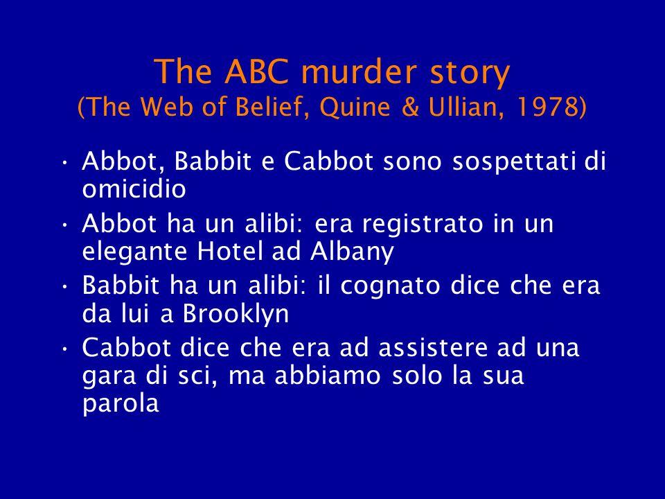 The ABC murder story (The Web of Belief, Quine & Ullian, 1978) Abbot, Babbit e Cabbot sono sospettati di omicidio Abbot ha un alibi: era registrato in