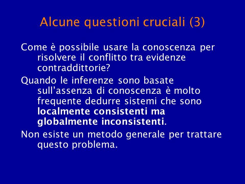 Alcune questioni cruciali (3) Come è possibile usare la conoscenza per risolvere il conflitto tra evidenze contraddittorie? Quando le inferenze sono b