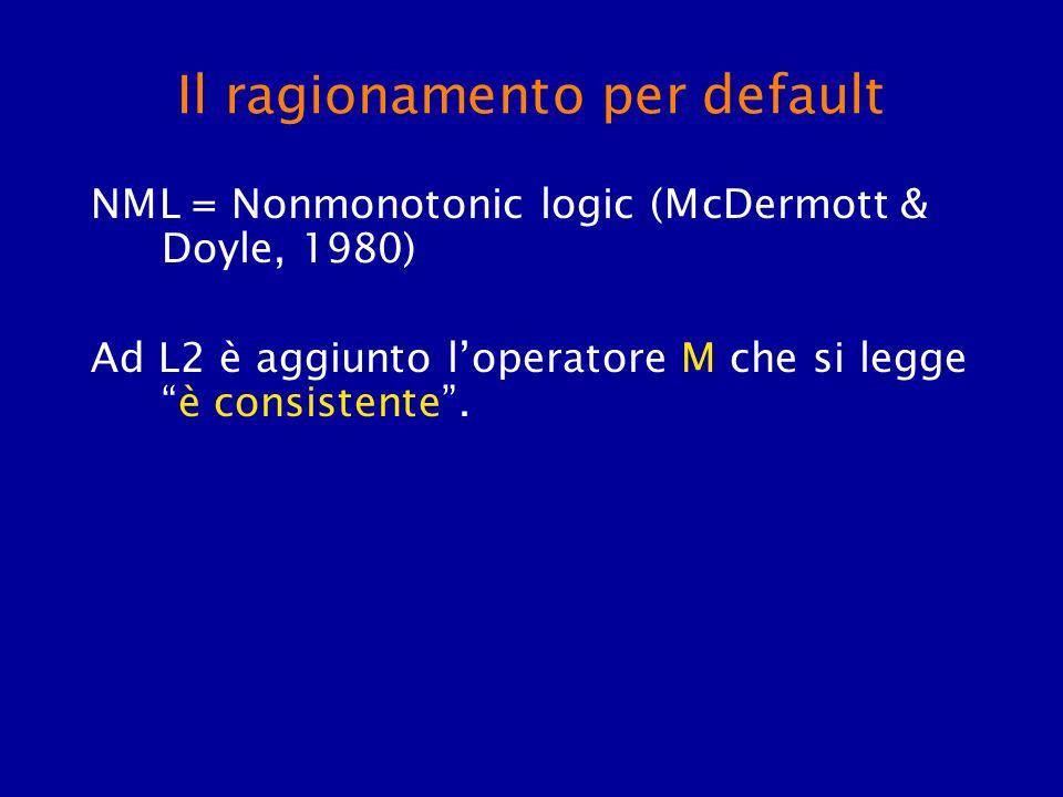 Il ragionamento per default NML = Nonmonotonic logic (McDermott & Doyle, 1980) Ad L2 è aggiunto loperatore M che si leggeè consistente.