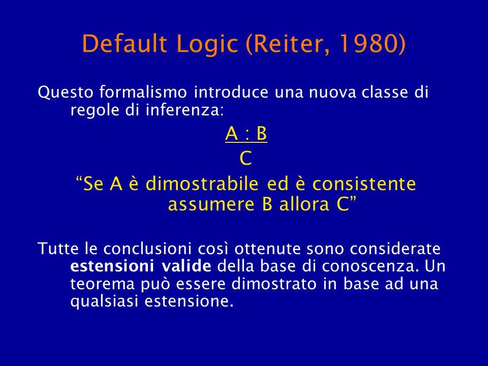 Default Logic (Reiter, 1980) Questo formalismo introduce una nuova classe di regole di inferenza: A : B C Se A è dimostrabile ed è consistente assumer