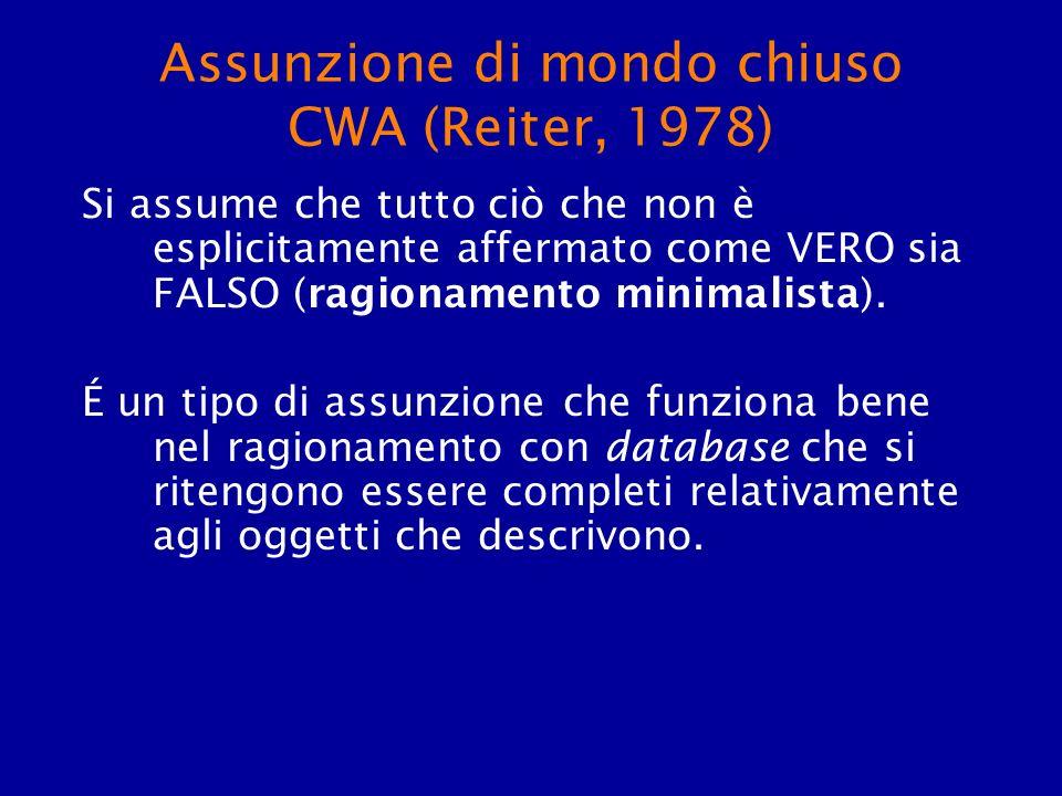 Assunzione di mondo chiuso CWA (Reiter, 1978) Si assume che tutto ciò che non è esplicitamente affermato come VERO sia FALSO (ragionamento minimalista