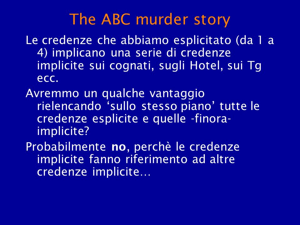 The ABC murder story Le credenze che abbiamo esplicitato (da 1 a 4) implicano una serie di credenze implicite sui cognati, sugli Hotel, sui Tg ecc. Av