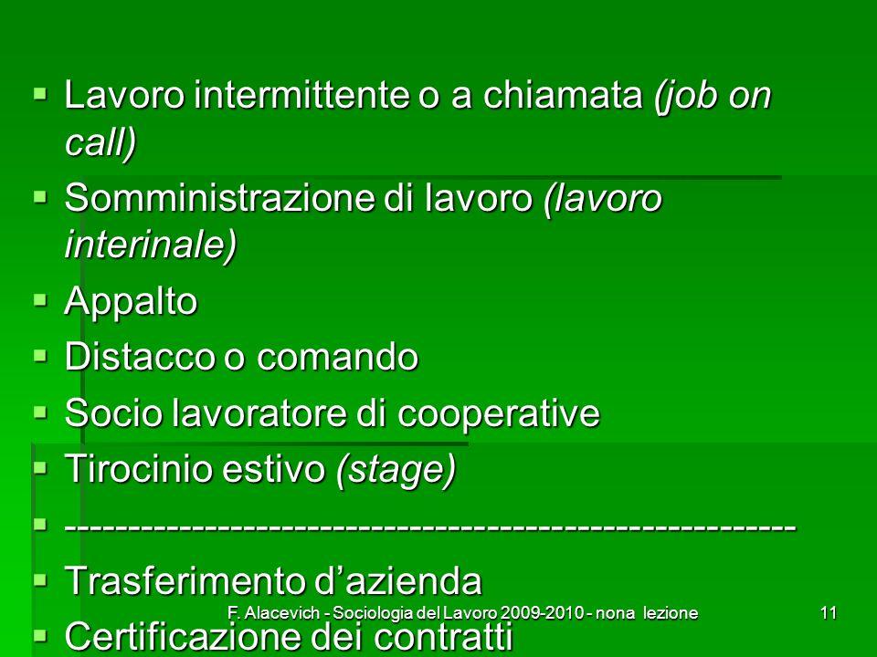 F. Alacevich - Sociologia del Lavoro 2009-2010 - nona lezione11 Lavoro intermittente o a chiamata (job on call) Lavoro intermittente o a chiamata (job