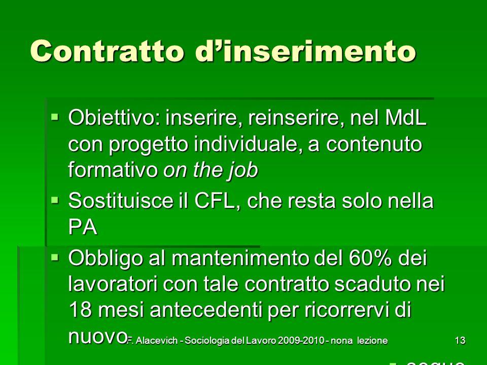 F. Alacevich - Sociologia del Lavoro 2009-2010 - nona lezione13 Contratto dinserimento Obiettivo: inserire, reinserire, nel MdL con progetto individua