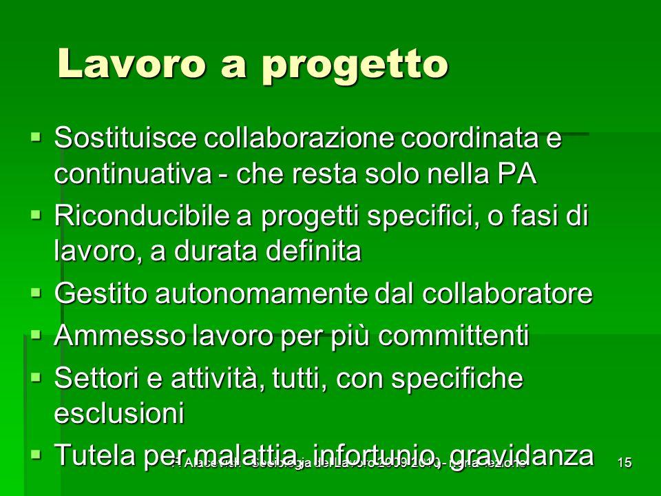 F. Alacevich - Sociologia del Lavoro 2009-2010 - nona lezione15 Lavoro a progetto Sostituisce collaborazione coordinata e continuativa - che resta sol