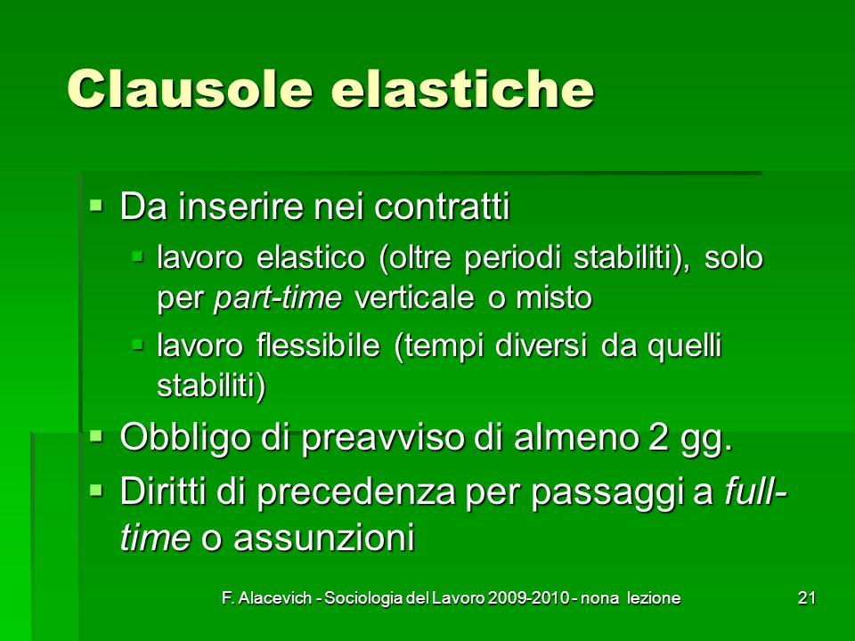 F. Alacevich - Sociologia del Lavoro 2009-2010 - nona lezione21 Clausole elastiche Da inserire nei contratti Da inserire nei contratti lavoro elastico