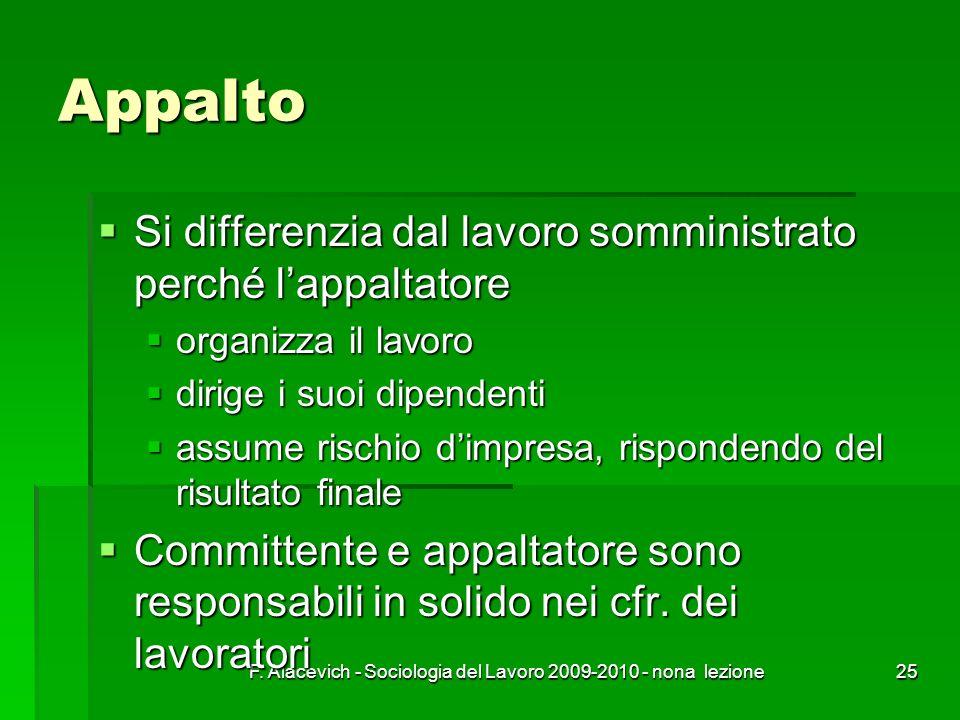 F. Alacevich - Sociologia del Lavoro 2009-2010 - nona lezione25 Appalto Si differenzia dal lavoro somministrato perché lappaltatore Si differenzia dal