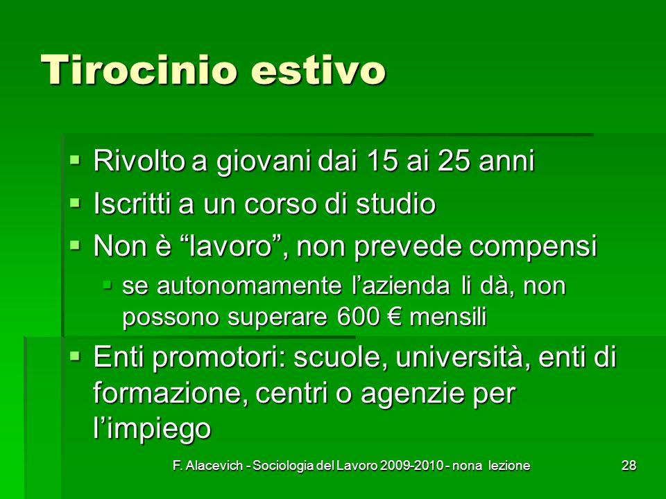 F. Alacevich - Sociologia del Lavoro 2009-2010 - nona lezione28 Tirocinio estivo Rivolto a giovani dai 15 ai 25 anni Rivolto a giovani dai 15 ai 25 an