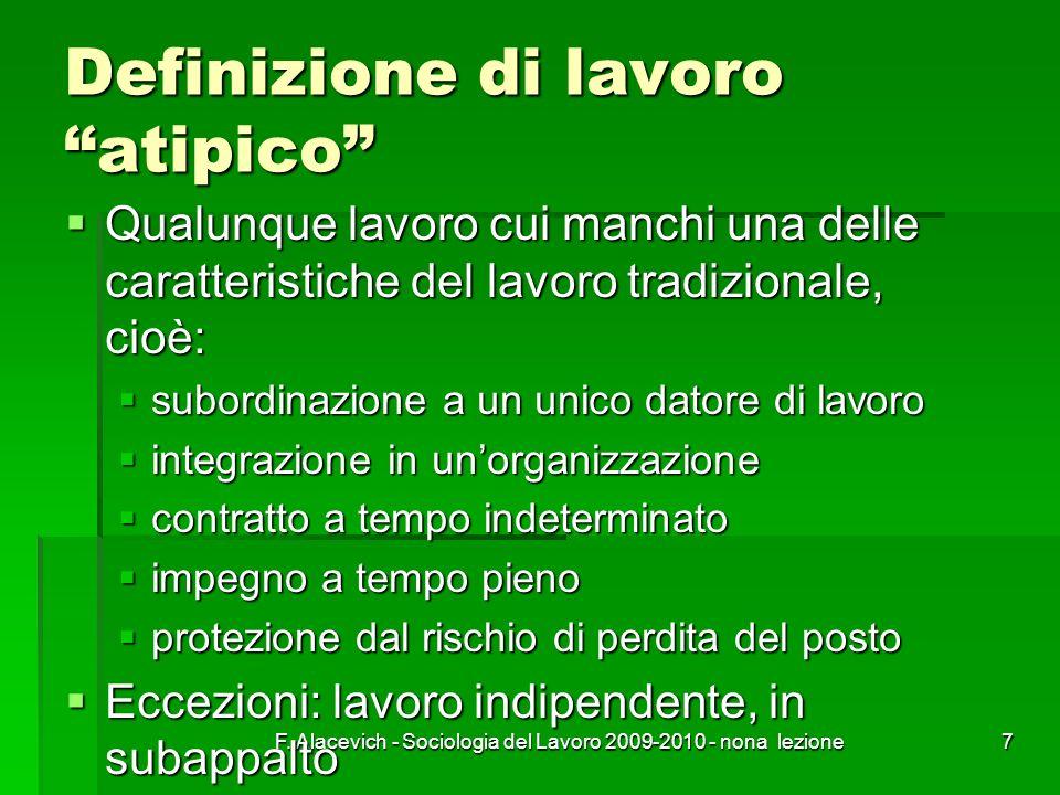 F. Alacevich - Sociologia del Lavoro 2009-2010 - nona lezione7 Definizione di lavoro atipico Qualunque lavoro cui manchi una delle caratteristiche del