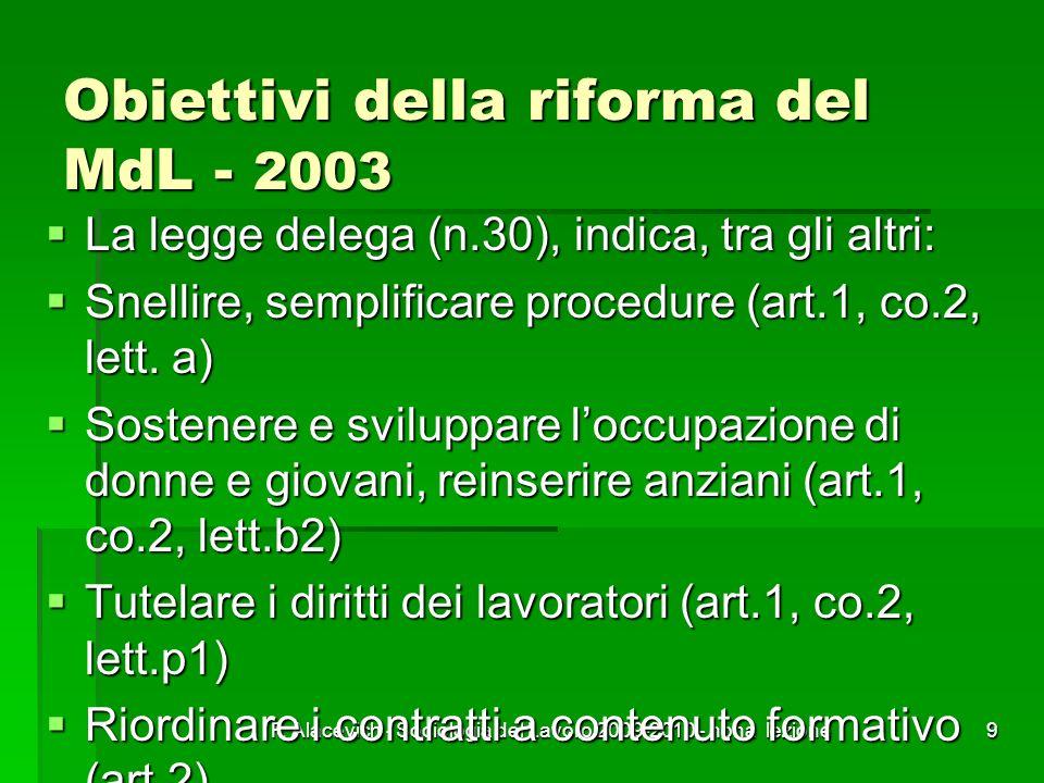 F. Alacevich - Sociologia del Lavoro 2009-2010 - nona lezione9 Obiettivi della riforma del MdL - 2003 La legge delega (n.30), indica, tra gli altri: L