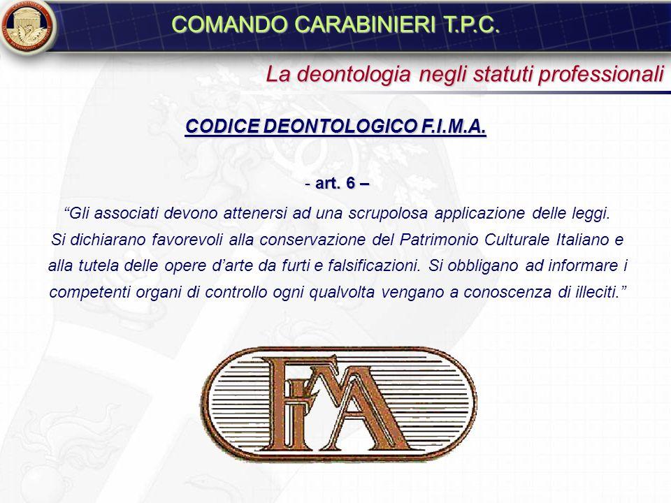 REGOLAMENTO A.N.C.A. - art. 6 – I soci si impegnano alla collaborazione con le istituzioni pubbliche per la conservazione del patrimonio culturale ita