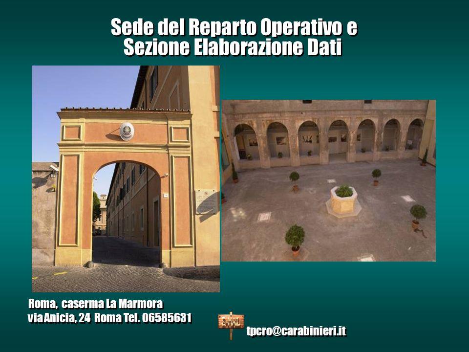 Sede del Reparto Operativo e Sezione Elaborazione Dati Roma, caserma La Marmora via Anicia, 24 Roma Tel.