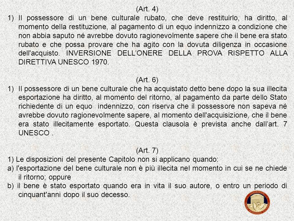 (Art. 1) La presente Convenzione si applica alle richieste di carattere internazionale: a) di restituzione di beni culturali rubati; b) di ritorno di