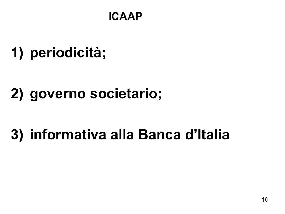 16 ICAAP 1)periodicità; 2)governo societario; 3)informativa alla Banca dItalia