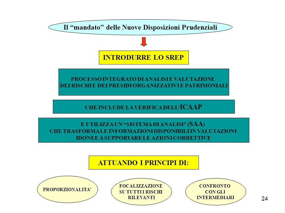 24 Il mandato delle Nuove Disposizioni Prudenziali INTRODURRE LO SREP PROCESSO INTEGRATO DI ANALISI E VALUTAZIONE DEI RISCHI E DEI PRESIDI ORGANIZZATI