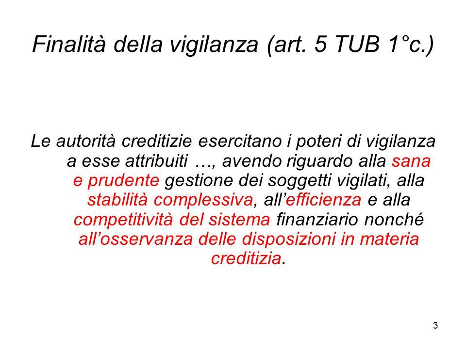 3 Finalità della vigilanza (art. 5 TUB 1°c.) Le autorità creditizie esercitano i poteri di vigilanza a esse attribuiti …, avendo riguardo alla sana e