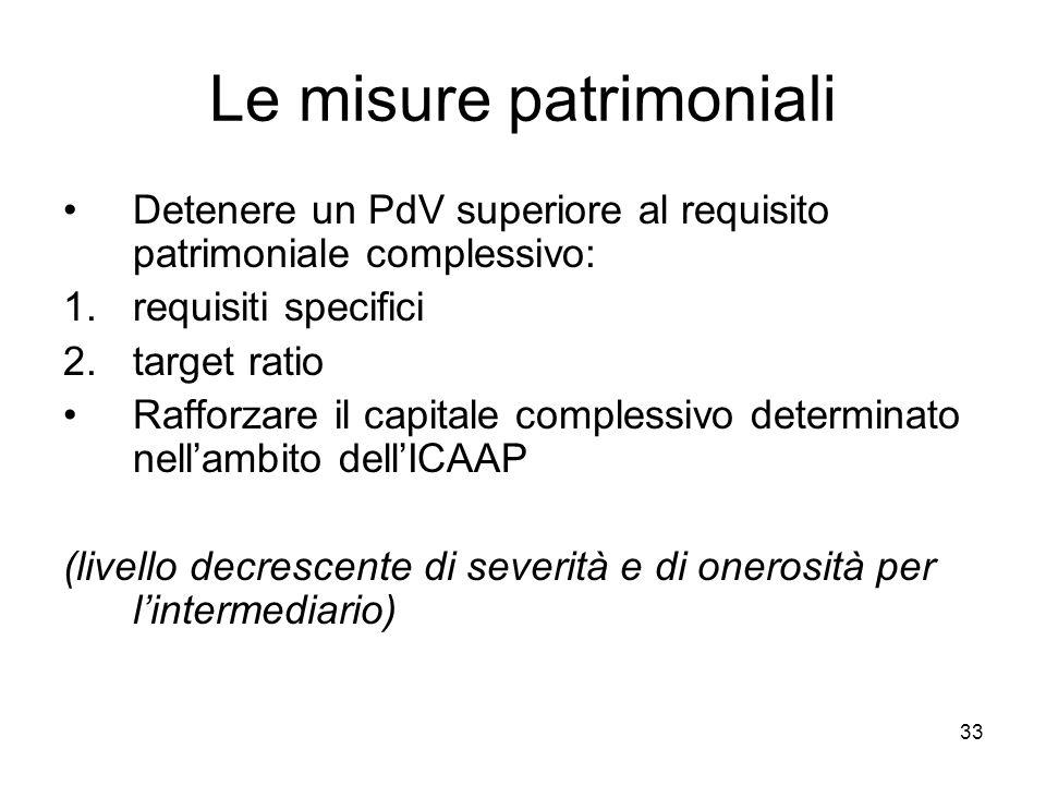 33 Le misure patrimoniali Detenere un PdV superiore al requisito patrimoniale complessivo: 1.requisiti specifici 2.target ratio Rafforzare il capitale